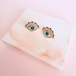 Blue Crystal Decorated Large Evil Eye Earrings